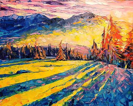 Winter sunset by Keren Gorzhaltsan