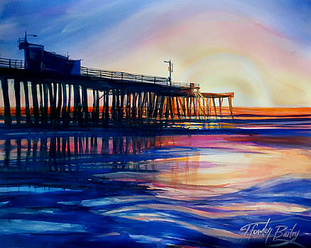 Winter Sunset on Pismo  Pier by Therese Fowler-Bailey