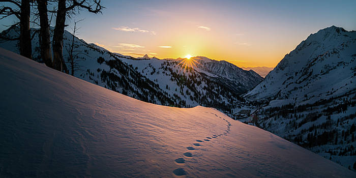 Winter Sunset over Little Cottonwood Canyon by James Udall