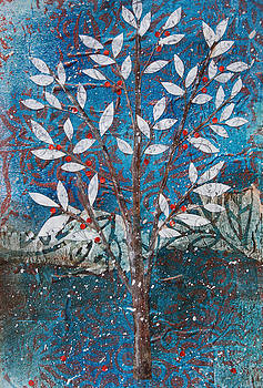 Winter Tree with Red Berries by Janyce Boynton