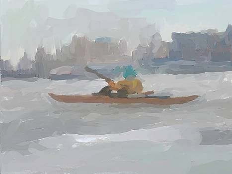 Winter Urban Ice Paddle on the Hudson by Harry Spitz