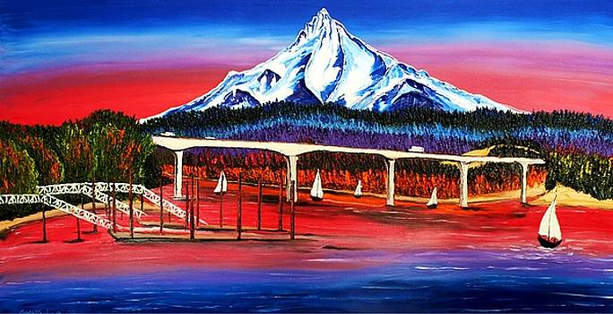 Wintler Beach Over Looking Mount Hood by Portland Art Creations