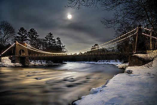 Wire Bridge Under a Full Moon by John Meader