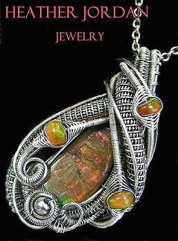 Wire-Wrapped Ammolite Pendant in Antiqued Sterling Silver with Ethiopian Welo Opals by Heather Jordan