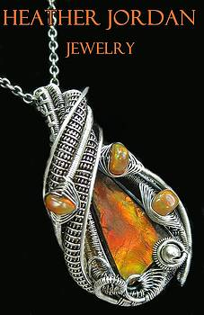 Wire-Wrapped Ammolite Pendant Necklace in Oxidized Sterling Silver with Ethiopian Welo Opals by Heather Jordan