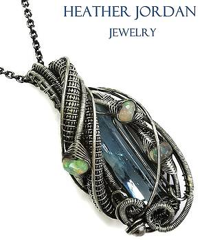 Wire-Wrapped Aquamarine Crystal Pendant in Antiqued Sterling Silver with Ethiopian Welo Opals by Heather Jordan