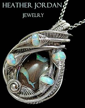 Wire-Wrapped Australian Boulder Opal Pendant in Antiqued Sterling Silver with Ethiopian Opals by Heather Jordan