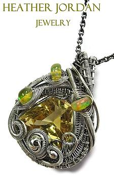 Wire-Wrapped Citrine Pendant in Antiqued Sterling Silver with Ethiopian Welo Opals by Heather Jordan