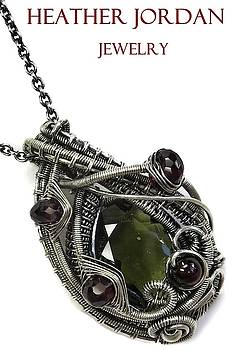 Wire-Wrapped Moldavite Pendant in Antiqued Sterling Silver with Rhodolite Garnet by Heather Jordan