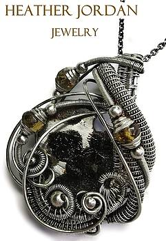Wire-Wrapped Seymchan Pallasite Meteorite Pendant in Antiqued Sterling Silver with Citrine by Heather Jordan