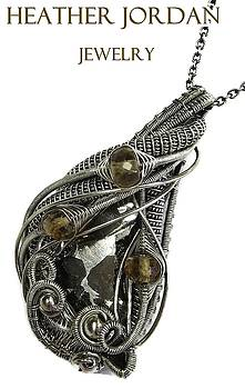 Wire-Wrapped Seymchan Pallasite Meteorite Pendant Necklace in Oxidized Sterling Silver with Citrine by Heather Jordan