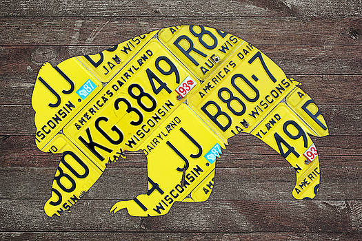 Design Turnpike - Wisconsin Badger Official State Animal Shape Recycled License Plate Art Series Number 002