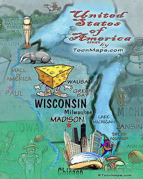 Wisconsin Fun Map by Kevin Middleton