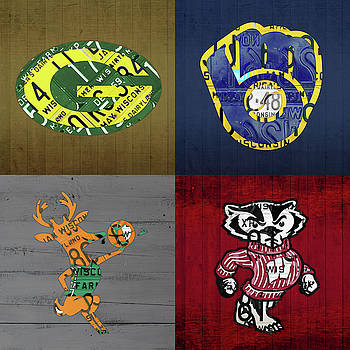 Design Turnpike - Wisconsin Sports Collage with Badgers Brewers Bucks License Plate Art V2