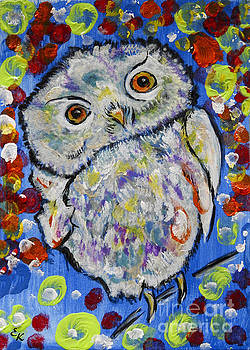 Wisdom and Whimsy colorful owl painting by Ella Kaye Dickey