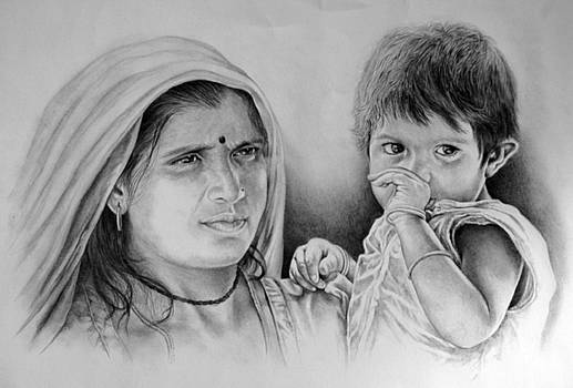 With Mother by Vijay Shrimali