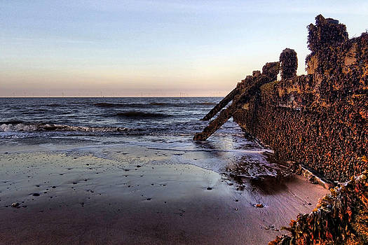 Withernsea Groynes at Sunset by Sarah Couzens