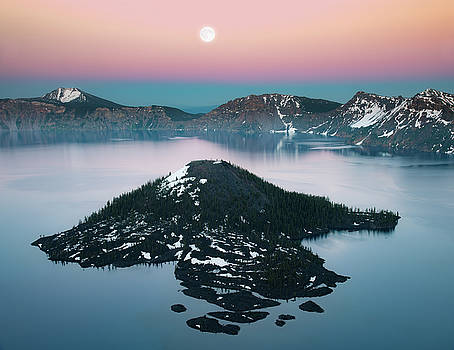 Wizard island and full moon by William Freebilly photography