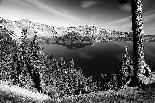 Wizard Island On Crater Lake B W by Frank Wilson
