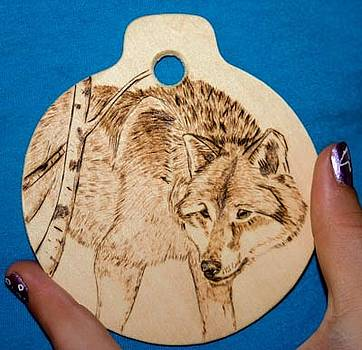 Wolf Ornament by Angel Abbs-Portice