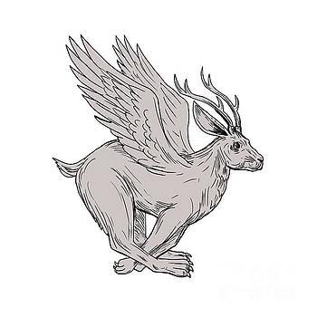 Wolpertinger Running Side Drawing by Aloysius Patrimonio