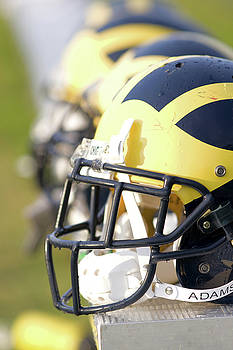 Wolverine Helmets on a Bench in the Morning by Michigan Helmet
