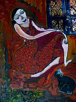 Woman and Cat by Padma Prasad