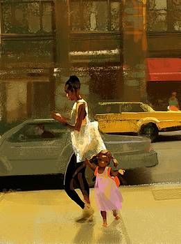 Woman And Child Walking Down City by Gillham Studios