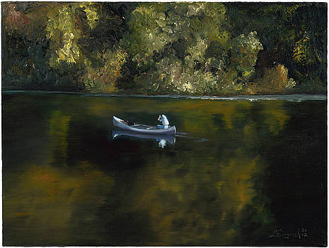 Woman and Dog in a Canoe by Mary Gingrich