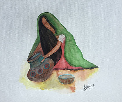 Woman and Earthen Pots by Ashima Kaushik