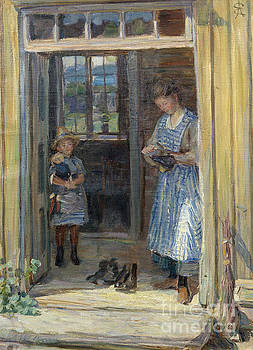 Woman and girl in doorway by August Eiebakke