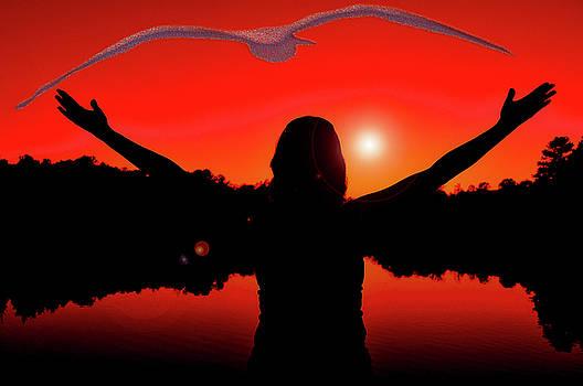 Woman and sunset by Fernando Cruz