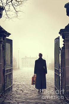 Woman Arriving At The Gates Of A Mansion  by Lee Avison