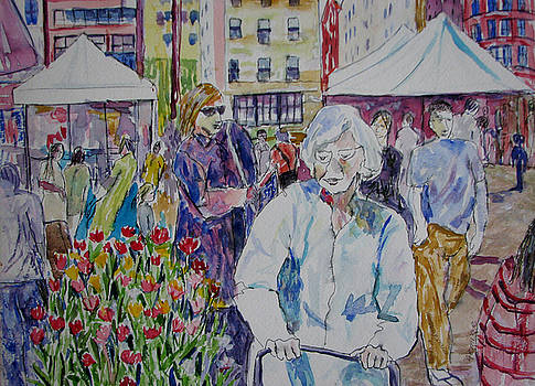 Woman at the Farmer's Market by Lucille Femine