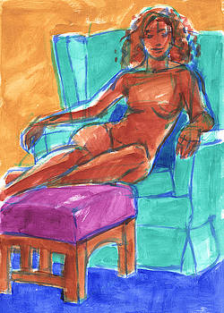 Judith Kunzle - Woman in a Turquoise Armchair