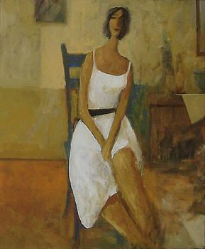 Woman In Blue Chair by Glenn Quist