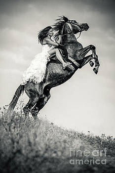 Dimitar Hristov - Woman in dress riding chestnut black rearing stallion
