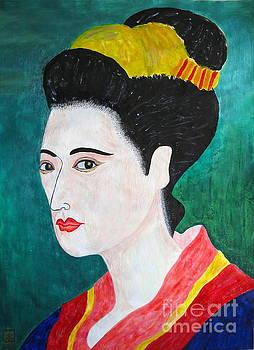 Woman In Kyoto by Taikan by Taikan Nishimoto