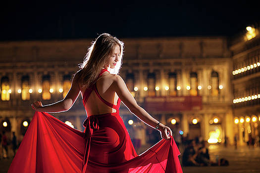 Woman In Red by Cristian Mihaila