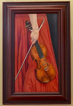 Woman in Red Dress with Violin  by Ralph Taeger