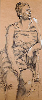 Woman In Striped Chemise by Joan  Jones