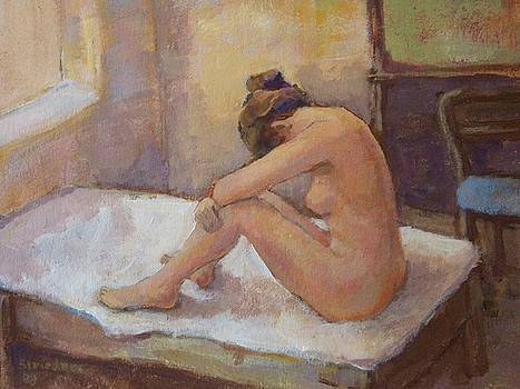 Woman in the hotel by Alfons Niex
