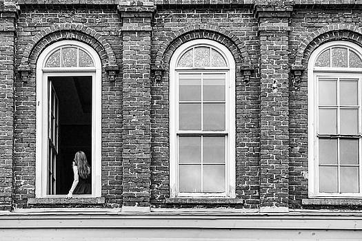 Sharon Popek - Woman in the Window black and white