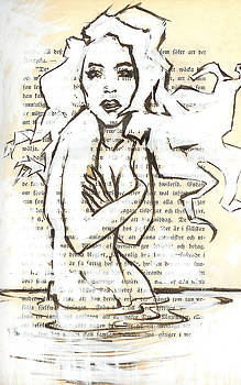 Woman In Water Marker Drawing on Vintage Book Page by Greg Noblin