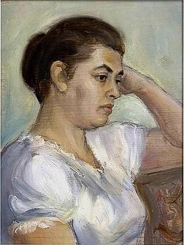 Woman in white blouse by Dionisii Donchev