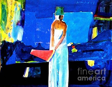 Woman In White City Lights by Harry WEISBURD