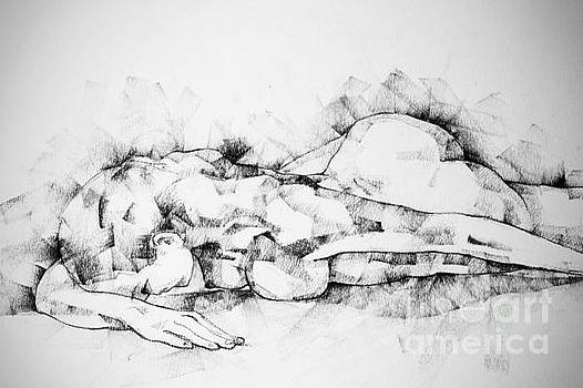 Dimitar Hristov - Woman Lying On The Floor Life drawing female figure