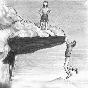 Woman on a Cliff with a Man Hanging from the Edge by Lee Serenethos