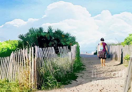Woman On Path To Beach by Clive Littin