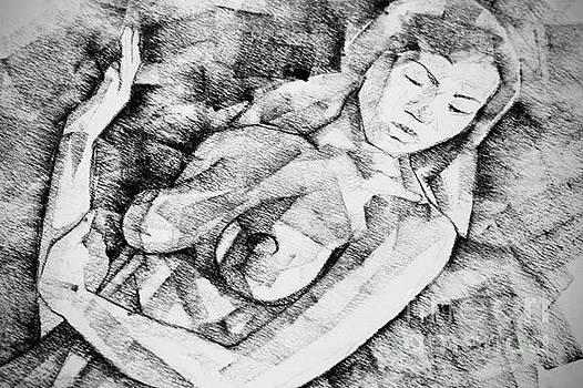 Woman Portrait Drawing by Dimitar Hristov